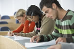 Picture of students taking a test.